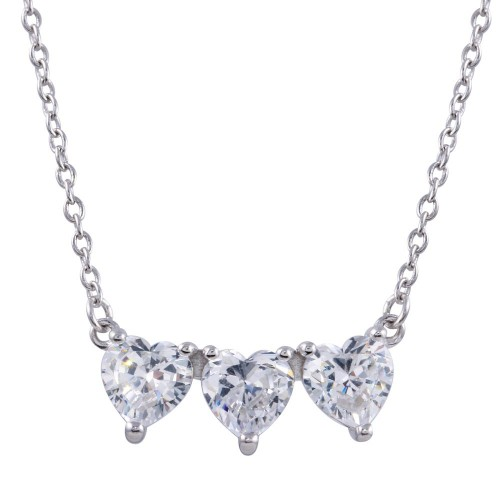 Wholesale Sterling Silver 925 Rhodium Plated 3 CZ Hearts Necklace - BGP01372