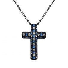 Wholesale Sterling Silver 925  Black Rhodium Plated Small Cross Blue and Clear CZ Necklace - BGP01373