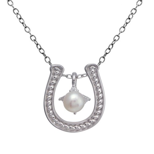Wholesale Sterling Silver 925 Clear Rhodium Plated Horse Shoe Pearl Center Necklace - BGP01374
