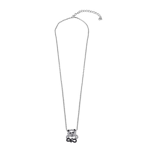 Wholesale Sterling Silver 925 Rhodium Plated Black and Clear Outline CZ Panda Bear Necklace - BGP01375