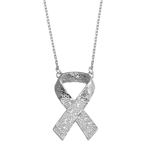 Wholesale Sterling Silver 925 CZ Rhodium Plated Flower Design Ribbon Necklace - BGP01376