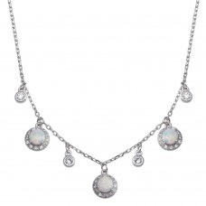 Wholesale Sterling Silver 925 Rhodium Plated Dangling CZ and Round Synthetic Opal Necklace - BGP01377