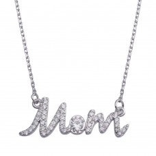 Wholesale Sterling Silver 925 Rhodium Plated Clear CZ Script MOM Necklace - BGP01380