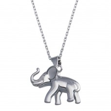 Wholesale Sterling Silver 925 Rhodium Plated Elephant Pendant Necklace - BGP01381
