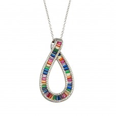 Wholesale Sterling Silver 925 Rhodium Plated Rainbow Multi Color CZ Ribbon Necklace - BGP01385