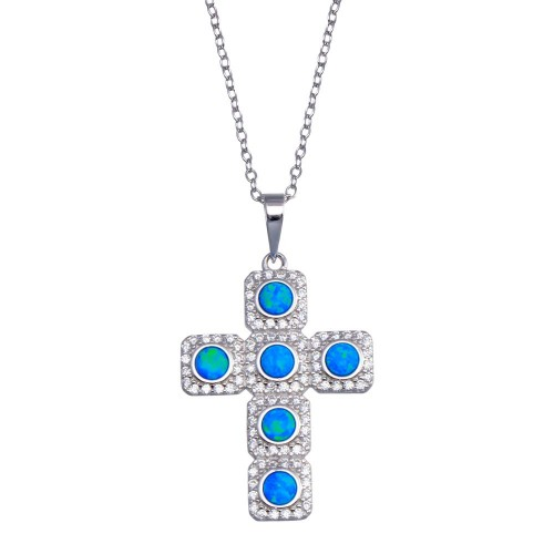 Wholesale Sterling Silver 925  Rhodium Plated Cross Blue and Clear CZ Necklace - BGP01386