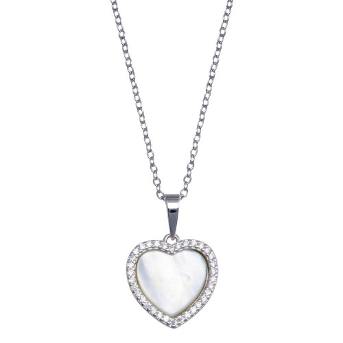 Wholesale Sterling Silver 925  Rhodium Plated Heart Mother of Pearl Necklace - BGP01387