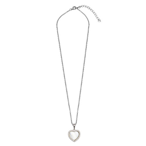 Wholesale Sterling Silver 925 Rhodium Plated Red Enamel Heart Necklace - STP00845