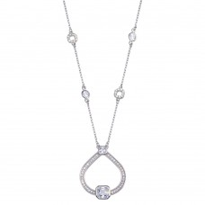 Wholesale Sterling Silver 925 Rhodium Plated Open Circular Pendant with CZ - BGP01388