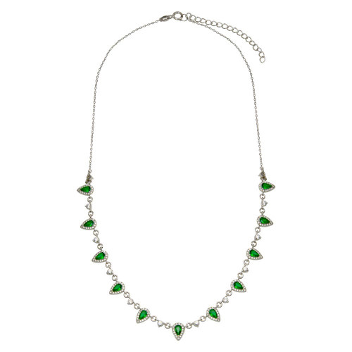 Wholesale Sterling Silver 925 Silver Green and Clear Multi CZ Necklace - BGP01389