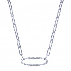 Wholesale Sterling Silver 925 Paperclip CZ Necklace - BGP01390