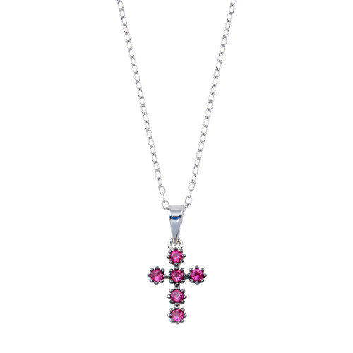 Wholesale Sterling Silver 925 Rhodium Plated Cross Pink CZ Necklace  - BGP01393