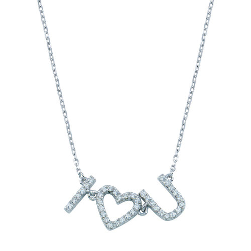 Wholesale Sterling Silver 925 Rhodium Plated CZ I Heart U Necklace - BGP01394