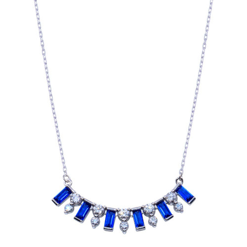 Wholesale Sterling Silver 925 Rhodium Plated Clear and Blue CZ Necklace - BGP01395
