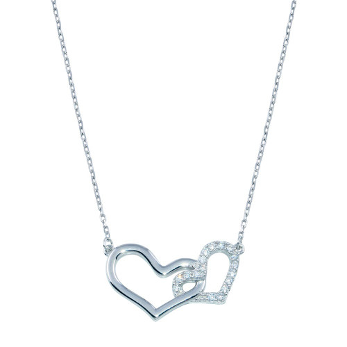 Wholesale Sterling Silver 925 Rhodium Plated Double CZ Heart Necklace - BGP01396