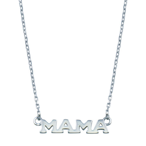 Wholesale Sterling Silver 925 Rhodium Plated MAMA Necklace - BGP01397