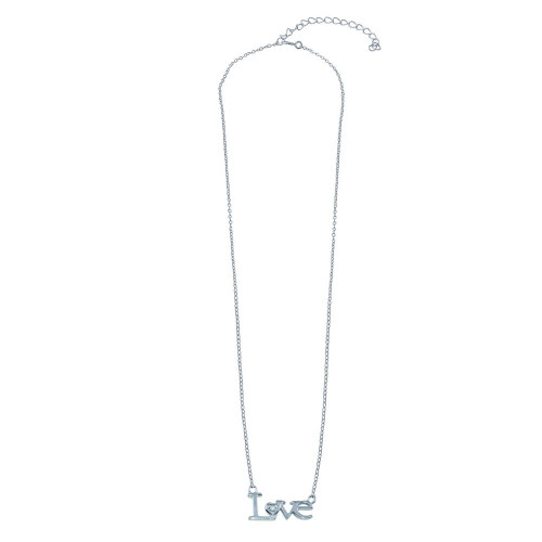 Wholesale Sterling Silver 925 Rhodium Plated CZ LOVE Necklace - BGP01398