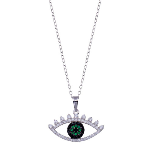 Wholesale Sterling Silver 925 Rhodium Plated Clear Green CZ Evil Eye Necklace - BGP01400