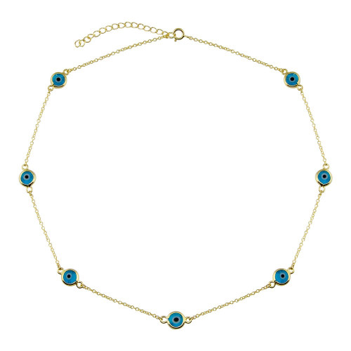 Wholesale Sterling Silver 925 Gold Plated Evil Eye by the Yard Necklace - BGP01402GP