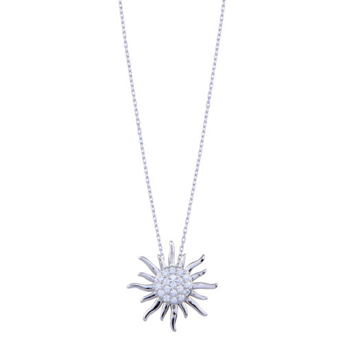 Wholesale Sterling Silver 925 Rhodium Plated Clear CZ Sun Necklace - BGP01403