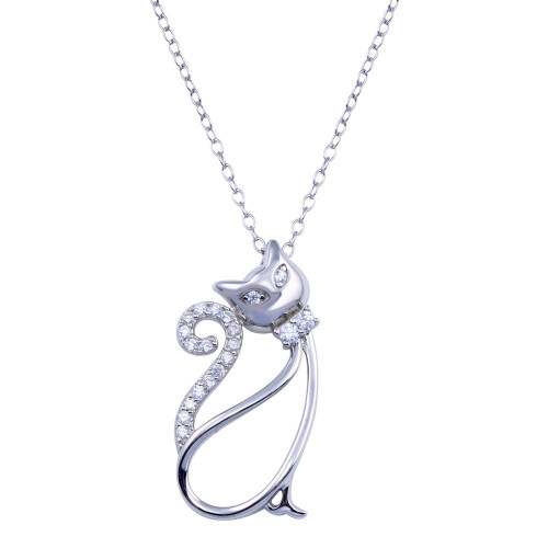 Wholesale Sterling Silver 925 Rhodium Plated Clear CZ Cat Necklace - BGP01404