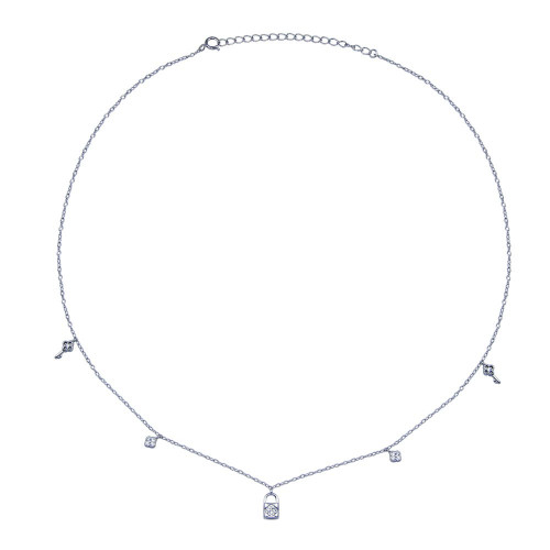 Wholesale Sterling Silver 925 Rhodium Plated Clear CZ Lock and Key Necklace - BGP01406