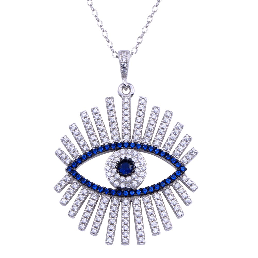Wholesale Sterling Silver 925 Rhodium Plated Clear Blue CZ Evil Eye Necklace - BGP01407