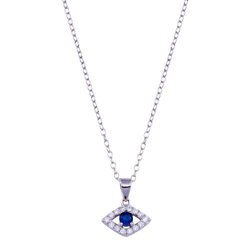 Wholesale Sterling Silver 925 Rhodium Plated Clear and Blue CZ Evil Eye Necklace - BGP01408