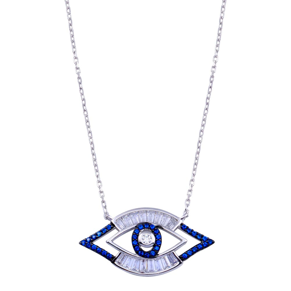 Wholesale Sterling Silver 925 Rhodium Plated Clear Blue CZ Evil Eye Necklace - BGP01409