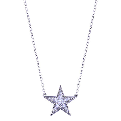 Wholesale Sterling Silver 925 Rhodium Plated Clear CZ Star Necklace - BGP01410