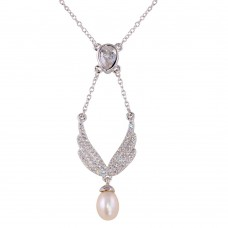 Sterling Silver Rhodium Plated Wings Necklace with CZ and Synthetic Pearl - BGP01275
