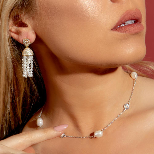 Wholesale Sterling Silver 925 Rhodium Plated Clear CZ Fresh-water Pearl Pendant Necklace - BGP00982