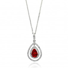 Wholesale Sterling Silver 925 Rhodium Plated Open Teardrop Red Center CZ Necklace - BGP00666