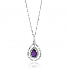 Wholesale Sterling Silver 925 Rhodium Plated Open Purple Teardrop Center CZ Necklace - BGP00667