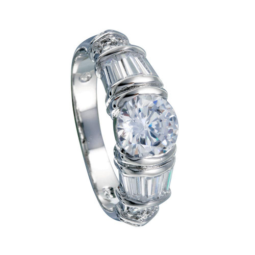Wholesale Sterling Silver 925 Rhodium Plated Clear Baguette Round CZ Ring - BGR00007