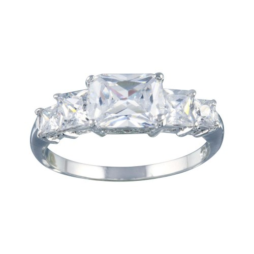 Wholesale Sterling Silver 925 Rhodium Plated Clear 5 Stone Set CZ Bridal Ring - BGR00017