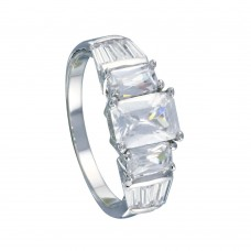 Wholesale Sterling Silver 925 Rhodium Plated Clear Baguette Rectangular CZ Bridal Ring - BGR00066