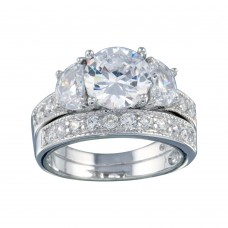 Wholesale Sterling Silver 925 Rhodium Plated Clear Round Center CZ Bridal Ring Set - BGR00069