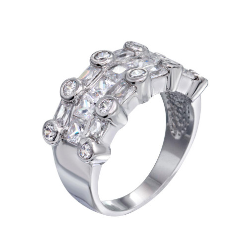 -Closeout- Wholesale Sterling Silver 925 Rhodium Plated Multi Shaped Clear CZ Ring - BGR00077