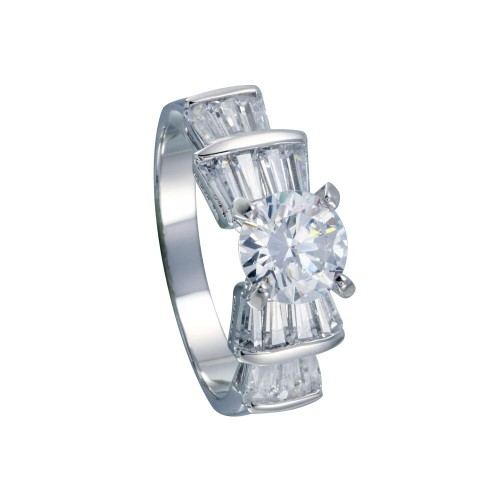 Wholesale Sterling Silver 925 Rhodium Plated Clear Baguette Round Center CZ Bridal Ring - BGR00078