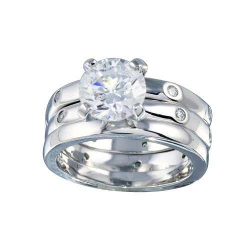 Wholesale Sterling Silver 925 Rhodium Plated Clear CZ Bridal Ring Set - BGR00080