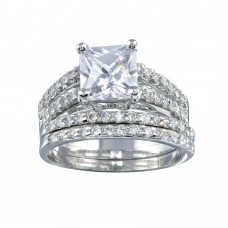 Wholesale Sterling Silver 925 Rhodium Plated Clear Princess Cut Pave Set CZ Bridal Ring Set - BGR00081