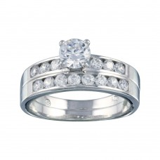 Wholesale Sterling Silver 925 Rhodium Plated Clear CZ Bridal Ring Set - BGR00088