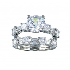 Wholesale Sterling Silver 925 Rhodium Plated Clear Round Center CZ Bridal Ring Set - BGR00091