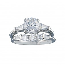 Wholesale Sterling Silver 925 Rhodium Plated Clear Baguette Round CZ Bridal Ring Set - BGR00092