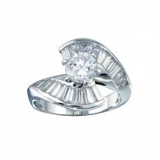 Wholesale Sterling Silver 925 Rhodium Plated Clear Baguette CZ Wave Ring - BGR00094