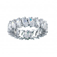 Wholesale Sterling Silver 925 Rhodium Plated Clear Marquise CZ Eternity Bridal Ring - BGR00096
