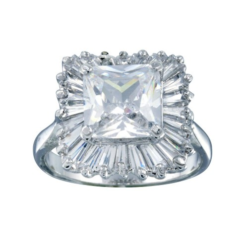 Wholesale Sterling Silver 925 Rhodium Plated Clear Baguette Square CZ Antique Bridal Ring - BGR00103