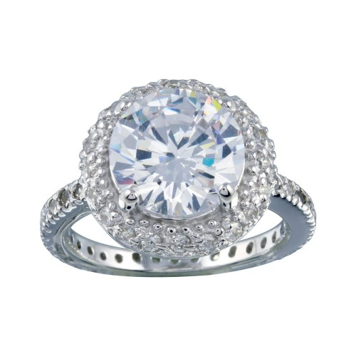 Wholesale Sterling Silver 925 Rhodium Plated Clear Cluster CZ Antique Bridal Ring - BGR00110