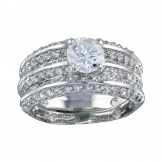 Wholesale Sterling Silver 925 Rhodium Plated Clear CZ Bridal Ring Set - BGR00123